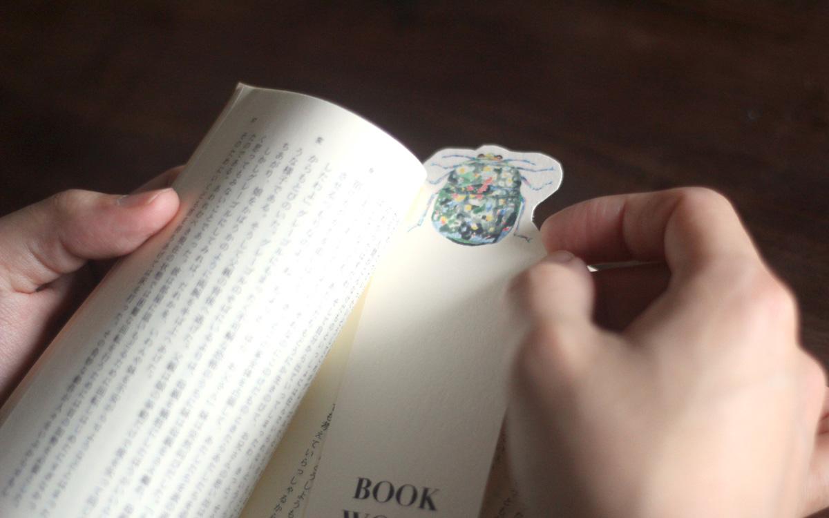 イラスト 栞「本の虫 BOOK BUG」